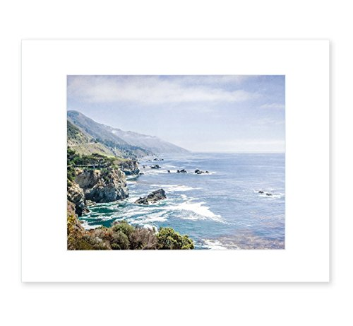 Coastal Wall Art, Northern California Big Sur Landscape Decor, Pacific Coast Highway One Picture, 8x10 Matted Photo Print, 'Rocky Rocks' (California Photograph Framed)