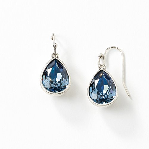 Touchstone Crystal by Swarovski Wrapped Up Crystal Denim Blue Earrings (Jewelry Touchstone Crystal)
