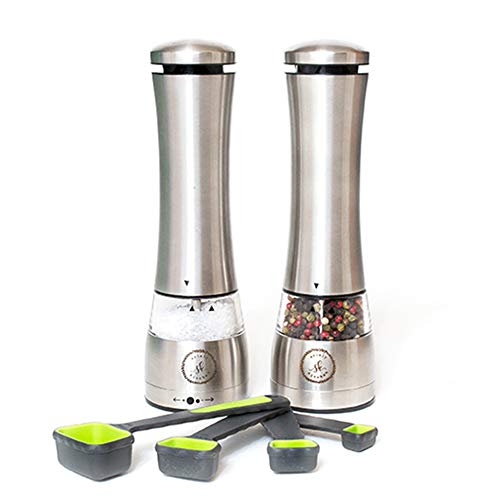 Stainless Steel Electric Salt and Pepper Grinder Set by Solely Kitchen- Automatic- Battery Operated Mills with LED Light- Large Capacity- 9