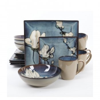 Gibson 105986.16 Bloomsbury Dinnerware Set44; Blue Flower44; 16 Piece
