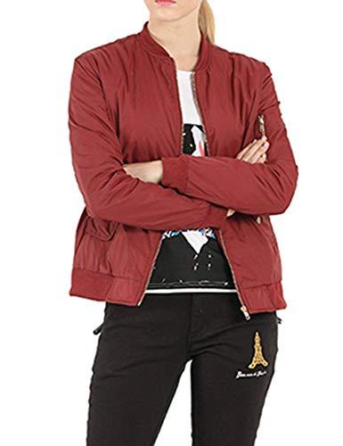 Coat Giacche Con Vintage Coreana Primaverile Donna Winered Autunno Maniche Lunghe Prodotto Pilot Eleganti Bomber Giacca Monocromo Cerniera Fashion Casual Collo Plus rzrHwxqZ