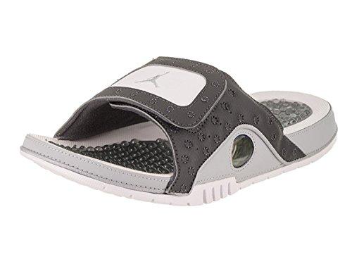 Nike Air Jordan Hydro 13 Xiii Sandalo Scorrevole Bianco / Rosso Grigio Scuro / Argento Metallizzato