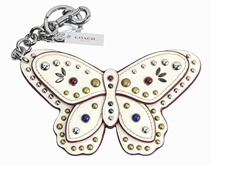 COACH Large Studded Leather Butterfly Bag Charm Key Chain in Silver / Chalk White 58996
