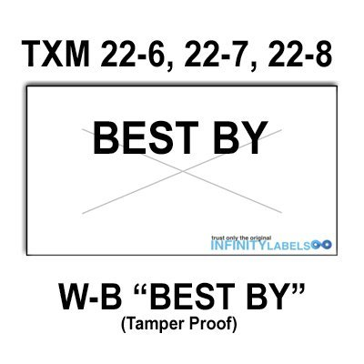 252,000 X-Mark 2200 compatible ''Best By'' White General Purpose Labels to fit the X-Mark TXM 22-6, 22-7 and 22-8 Price Guns. Full case, includes 12 ink rollers. by Infinity Labels