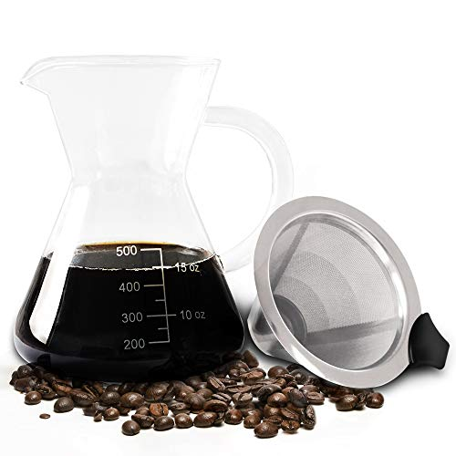 Elabo Pour Over Coffee Maker - with Paperless Stainless Steel Filter, Durable Glass Carafe (500ML/1.7OZ)