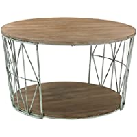 Artistic Round Wood & Metal Coffee Table, Grey/Natural Oak