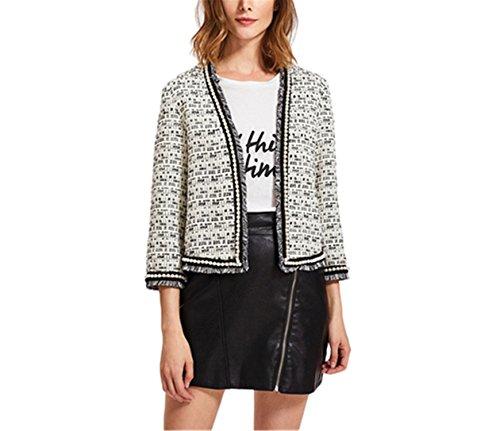 Saneoo Pearl Beaded Frayed Tweed Blazer Fall Fashion Womens Collarless Work Wear Elegant Fitted Blazers White S - Tweed Fitted Blazer