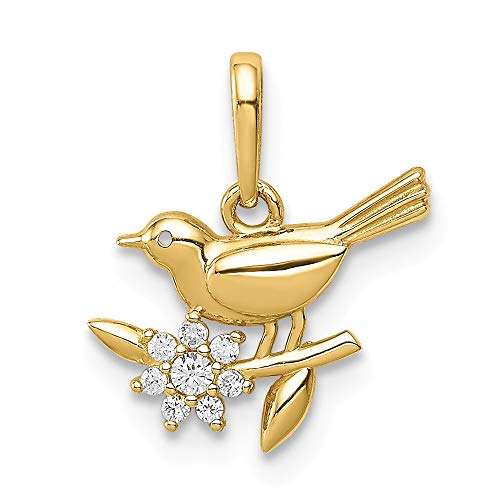 14k Yellow Gold Bird On A Branch Cubic Zirconia Cz Pendant Charm Necklace Fine Jewelry Gifts For Women For Her