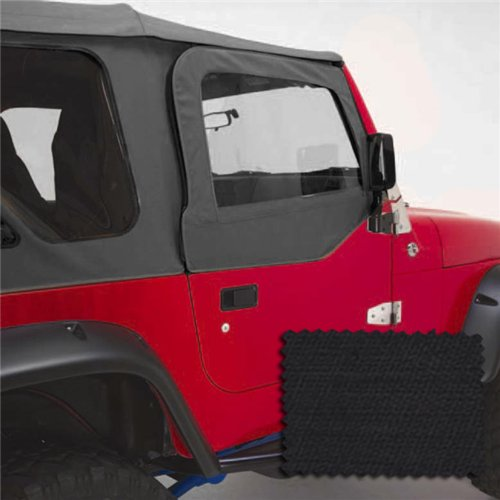 Soft Upper Doors (Rugged Ridge 13714.35 Diamond Black Front Upper Soft Door Kit - Pair)