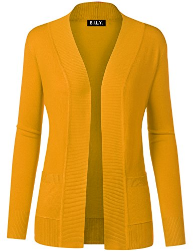 BH B.I.L.Y USA Women's Open Front Long Sleeve Classic Knit Cardigan Mustard Medium
