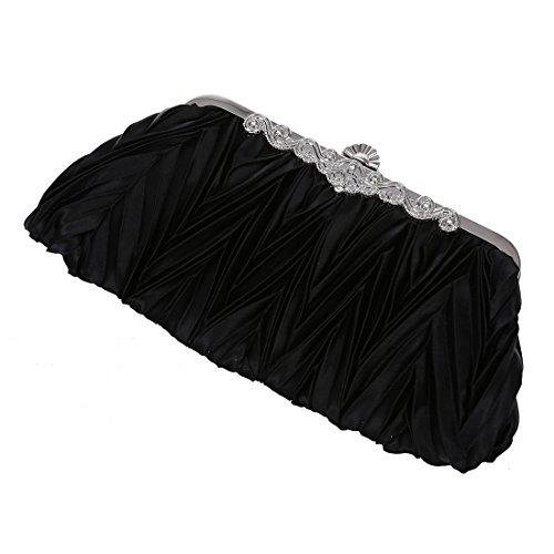 SODIAL(R) Raso della piega del nuziale di sera del partito nero frizione borsa