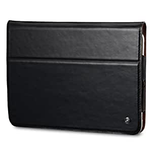 Acase iPad Mini 2 Genuine Leather Case / Cover with Built-in Stand - Support Smart Cover Function for iPad Mini / iPad Mini 2 with Retina Display (Black)