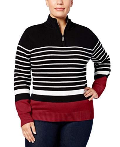 - Karen Scott Plus Size Cotton Striped Half-Zip Sweater Red Amore Combo, 2X