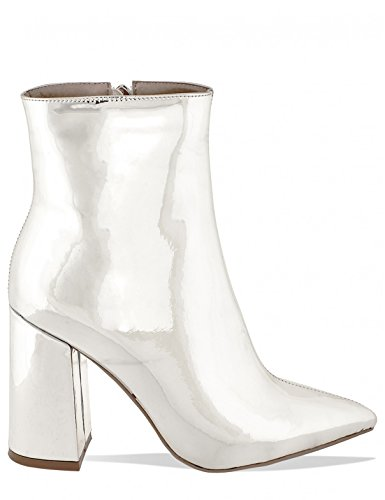 LAMODA Womens Block Heeled Ankle Boots in Patent PU Silver hQ018l7YD