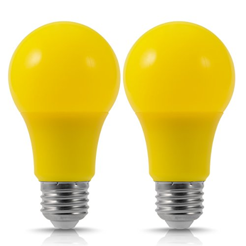 JandCase Yellow LED Bug Light Bulbs, 40W Equivalent, 5W, A19 Color Light Bulbs with E26 Medium Base, Home Lighting, 2 (Amber Yellow Pendant)