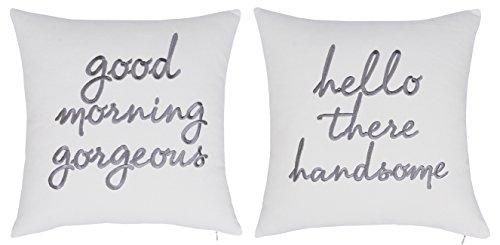 DecorHouzz Pillowcases Hi Handsome Good Morning Gorgeous Set of 2 Embroidered Pillow Cover Cushion Cover Throw Pillow Decorative Pillow Wedding Couple He and She Anniversary Gift 18