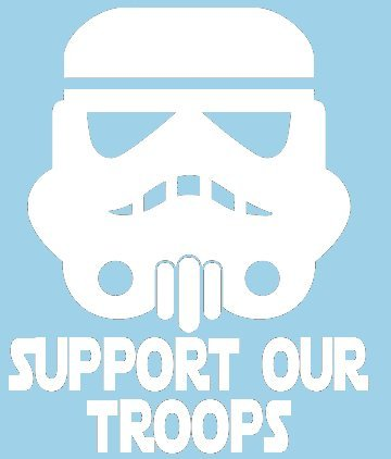"Star Wars Storm Trooper Support Our Troops 6"" White VINYL Car Decal Art Wall Sticker Car USA"
