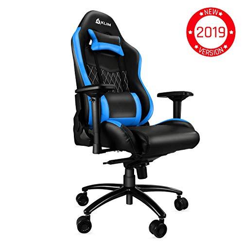 ⭐️KLIM Esports Gaming Chair Executive Ergonomic Racing Computer Chair - Back & Head Support - New - Adjustable Armrest - Desk & Office Recliner - Silla Gamer - Black & Blue Cushion