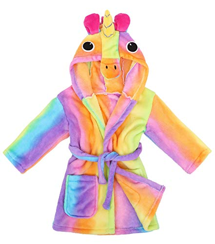 Girls Robe Animal Plush Soft Hooded Bathrobe,Rainbow Pegasus,L(7-10 -