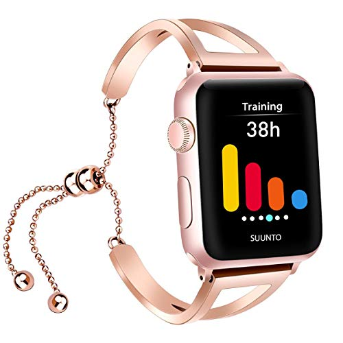 iGK Compatible with Apple Watch Band 38mm 40mm 42mm 44mm, Jewelry Bangle Cuff Adjustable Stainless Steel Replacement Band for iWatch Apple Watch Series 4/3/2/1 for Women Girl with Pendant & ()