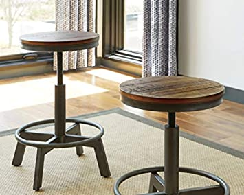 Ashley Furniture Signature Design – Torjin Stool – Set of 2 – Industrial Style – Two-tone Brown Gray