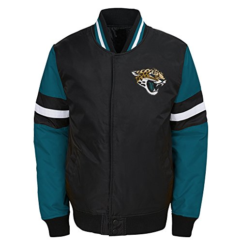 Outerstuff NFL Jacksonville Jaguars Youth Boys Legendary Color Blocked Varsity Jacket Black, Youth Large(14-16)
