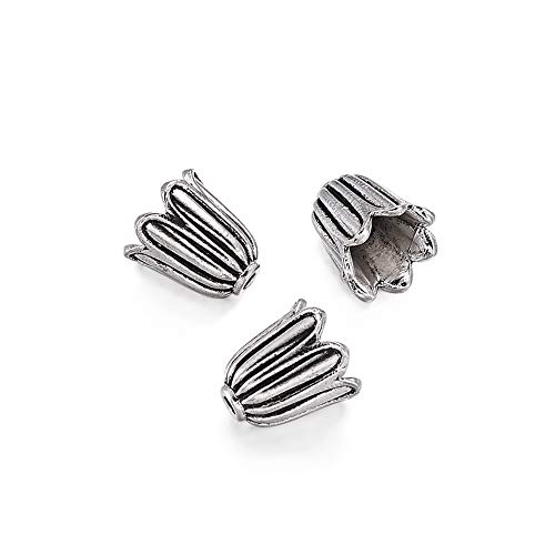 Pandahall 20pcs Tibetan Style Flower Bead Caps Tassel End Cap Lead Free Cadmium Free Antique Silver Jewelry Making 10x10mm Hole: 2mm
