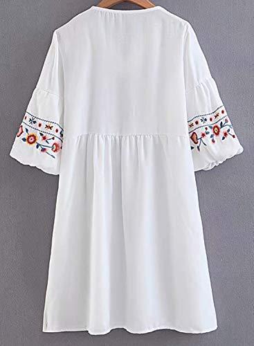 Doballa Mujeres Bohemia Bordado Floral de la túnica de la ...
