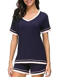 07273ef3c6 Sleepwear Sets Women s V-Neck Pajama Short Set Soft Loungewear Nightwear  S-XXL