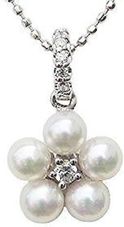 真珠パール ペンダントトップ パール ペンダントヘッド wg あこや本真珠 3.5-4mm ダイヤモンド6石 0.07ct 花 フラワー K18WG ホワイトゴールド 結婚式 記念日 パーティー
