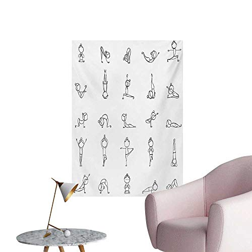 Anzhutwelve Yoga Corridor/Indoor/Living Room Stickman Practicing Different Yoga Moves Stretching Physical Recreation Strength FitBlack White W20 xL28 Funny Poster