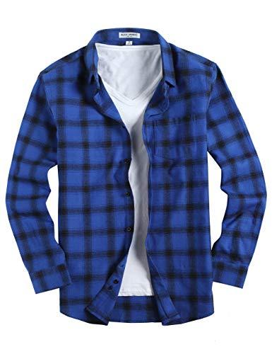 (Joey CV Mens Flannel Shirts Plaid Regular Fit Long Sleeve Casual Button Down Shirts(Blue-321,XLarge))