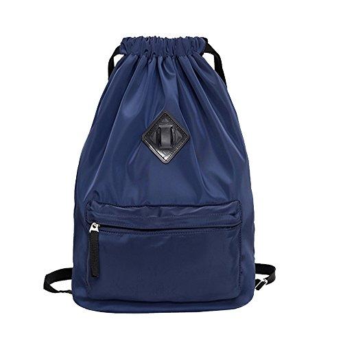 Waterproof Travel Sports Yoga Gym Drawstring Backpack Bag Training Gymsack Sackpack(Navy blue)