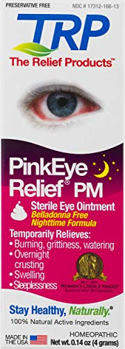 TRP Company, Pink Eye Relief PM Preservative Free Eye Ointment for Temporary Relief of Over Night crusting, red Eyes, Burning, Watering, (Best Pink Eye Drops)