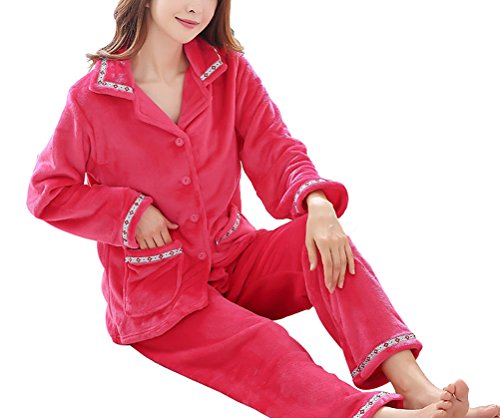 Respeedime Womens Pj Set with Pants Cozy House Service Sleepwear Pajamas ()