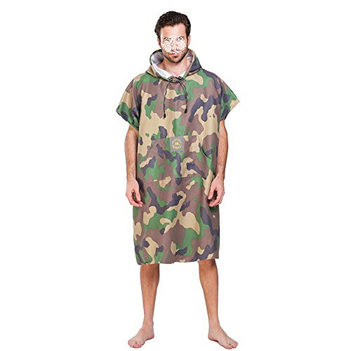 - HANXIAODONG Hooded Poncho Bath/Beach Towel Beach Pool Camouflage Windproof Surf Poncho Replacement Robes Surfboard Change Hooded Quick-Drying Poncho (Color : Green)