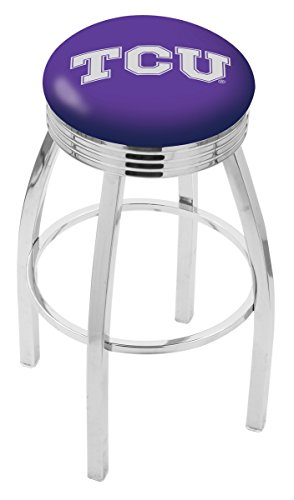 Logo Series Bar Stool NCAA Team: TCU, Size: 25'', Frame Type: Solid Welded Black by Holland Bar Stool