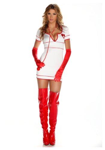 [Forplay Doctor Love Dress, Stethoscope, Gloves, White, Medium/Large] (Dr Love Costume)
