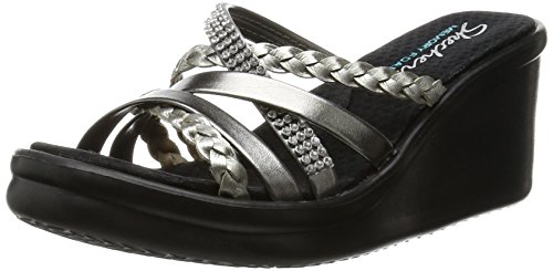 Skechers Cali Women's Rumblers Wild Child Wedge Sandal, Pewter Rhinestone, 8.5 M US