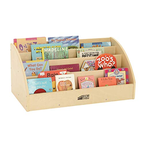 ECR4Kids Birch Toddler Book Display Stand, Mobile Wood Book Shelf Organizer for Kids, 4 Shelves, Natural for $<!--$84.84-->