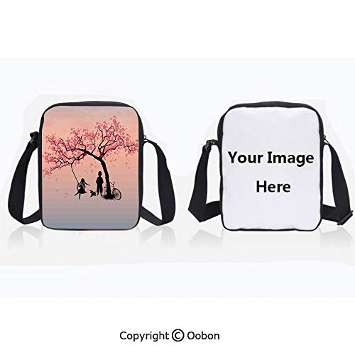 Polyester Anti-Theft Cross-Body Bag Unisex Adult Children Playing on a Tire Swing under Cherry Tree with Dog Blossom Spring Art Pink Black Zipper Bucket Anti Theft Bag For Journey
