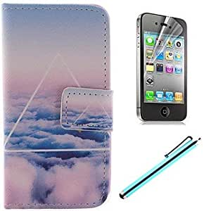QJM Only Beautiful Cloud Design PU Full Body Case with Card Slot and Stand for iPhone 4/4S