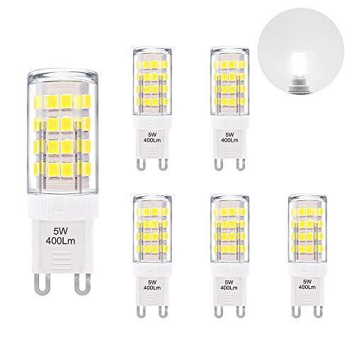 Cool White 6000K 5W G9 GU9 LED Capsule Light Bulbs Small Corn Lamp Bulbs 400Lm AC110-120V Replace 40W G9 Halogen Light Bulbs 6 Pack by ()