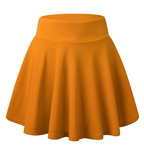 Skirts for Women, DJT FASHION Women's Basic Flared Casual Mini Skater Skirt without Shorts S Yellow