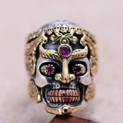 Cool Punk 925 Sterling Silver Rose Gold Skull Head Hip Hop Ring Jewelry with Red Eyes for Men Boys Size 8-11