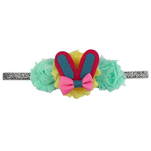 - headband Easter Babies Headband Flower Rabbit Ears Hair Band Easter Sunday Multicolor