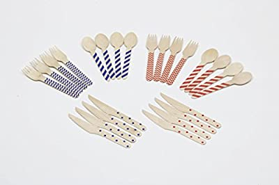 "Wooden Disposable Cutlery ~ Set of 200 Eco Friendly Wooden Eating Utensils: 100 Forks, 50 Spoons, 50 Knives, Each 6.5"", 100% Natural, Cool Geometric Designs, Resealable Package, by AliAvanti"