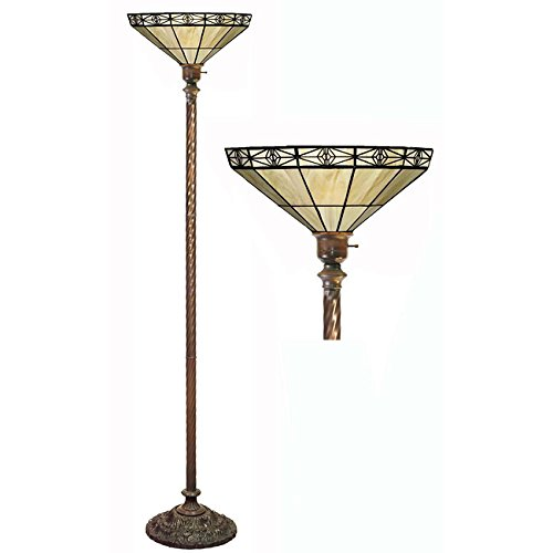 Floor Lamp Mission Torchiere (Warehouse of Tiffany Tiffany-style Mission-style Off Yellow Torchiere, new)