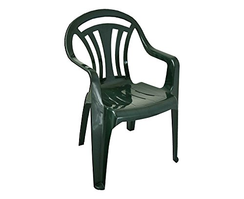 PLASTIC CHAIR LOW BACK PLASTIC PATIO GARDEN CHAIR PACK OF 2 GREEN