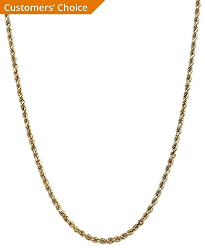 ICE CARATS 14k Yellow Gold 3.5mm Link Rope Lobster Clasp Chain Necklace 30 Inch Handmade Fine Jewelry Gift Set For Women Heart by ICE CARATS (Image #3)